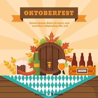 Klasyczna kompozycja oktoberfestu z płaską konstrukcją