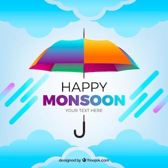 Klasyczna kompozycja sezonu monsunowego z realistycznym designem