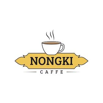 Klasyczna koncepcja logo kawiarni z kubkiem i uszczelką