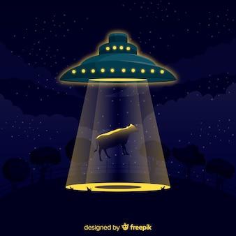 Klasyczna koncepcja uprowadzenia ufo z płaską konstrukcją