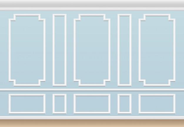 Klasyczna niebieska ściana z panelem formującym. dom luksusowe wnętrze z ramami formierskimi.