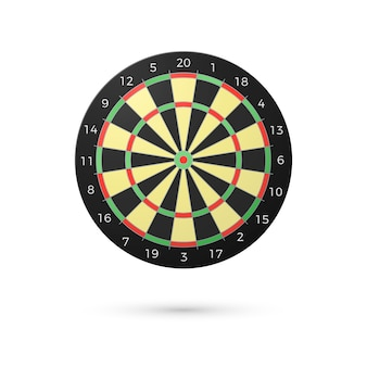 Klasyczna plansza do rzutek z dwudziestoma sektorami. realistyczne tablice do rzutek. koncepcja gry. ilustracja na białym tle