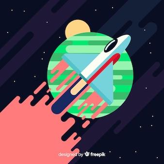 Klasyczna rakieta kosmiczna o płaskiej konstrukcji