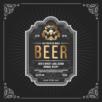 Klasyczna rama starodawny transparent etykiety piwa