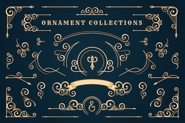 Klasyczna ramka ornament, zestaw vintage granicy