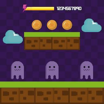 Klasyczna scena gier wideo z postaciami duchów