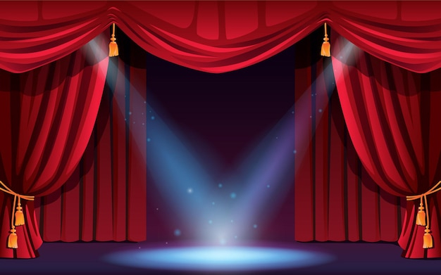 Klasyczna scena z zasłonami i reflektorami