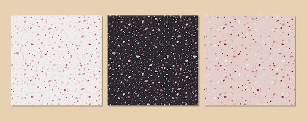 Klasyczna włoska podłoga o fakturze lastryko skomponowana z kamienia naturalnego, granitu, kwarcu, marmuru, szkła i betonu. wektor lastryko zestaw veneziano wzór.