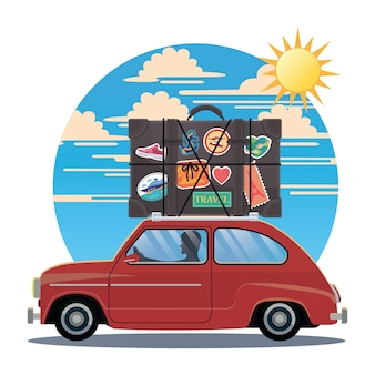 Klasyczna wycieczka samochodowa w stylu retro w stylu retro z dużą walizką