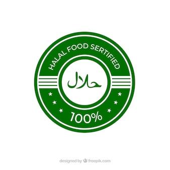 Klasyczna zielona halalowa etykieta o płaskiej konstrukcji