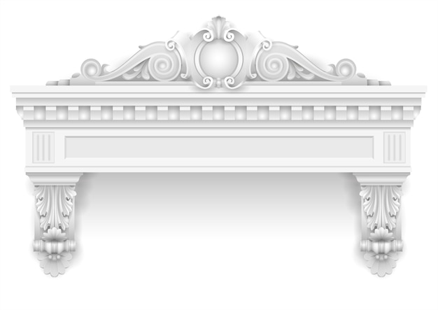 Klasyczne białe okno architektoniczne i wystrój elewacji