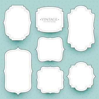 Klasyczne białe ramki i naklejki w stylu vintage