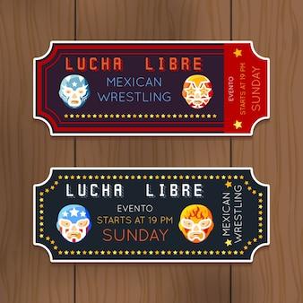Klasyczne bilety lucha libre z meksykańskimi maskami zapaśniczymi. zawody zapaśników.