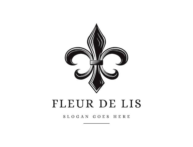 Klasyczne czarno-białe logo fleur de lis w stylu vintage