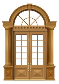 Klasyczne dębowe drzwi wejściowe