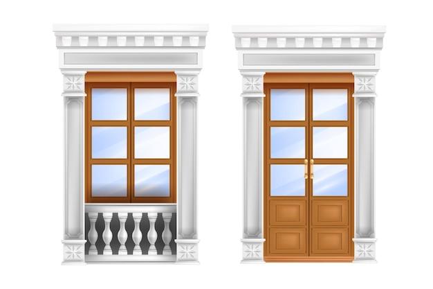 Klasyczne drzwi, rzymskie tradycyjne podwójne wejście, balustrada, marmurowe okno portalowe na białym tle.
