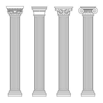 Klasyczne kamienne kolumny w greckiej i rzymskiej architekturze. ilustracja wektorowa zarys. kolumna architektury i filar starożytny