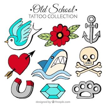 Klasyczne kolorowe stare kolekcja tatuażu szkoły