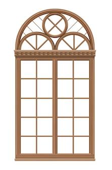 Klasyczne łukowe okno drewniane w stylu średniowiecznym do kościoła lub zamku.
