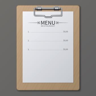 Klasyczne menu restauracji na arkuszu papieru w schowku. szablon wektor. ilustracja menu jedzenia kawiarnia