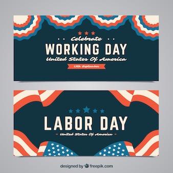 Klasyczne opakowanie banerów dzień pracy z płaskiej konstrukcji