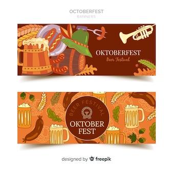 Klasyczne ręcznie rysowane banery oktoberfest