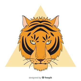 Klasyczne ręcznie rysowane compositio tygrysa