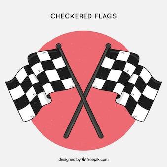 Klasyczne ręcznie rysowane flagi w kratkę