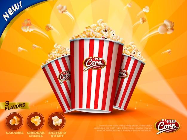 Klasyczne reklamy popcornu, pyszny popcorn wylatujący z kartonu na żółtym tle w paski na ilustracji, trzy smaki do wyboru