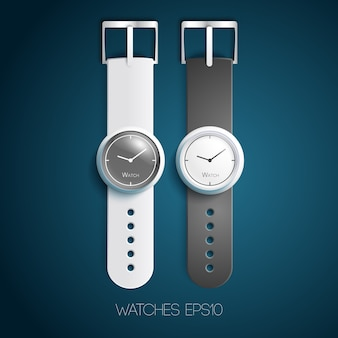 Klasyczne szwajcarskie zegarki z biało-szarymi skórzanymi opaskami i tarczami w realistycznym stylu na białym tle
