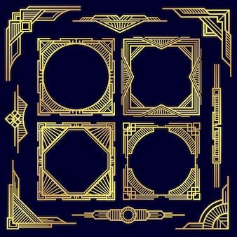 Klasyczne vintage geometryczne ramki i granicy