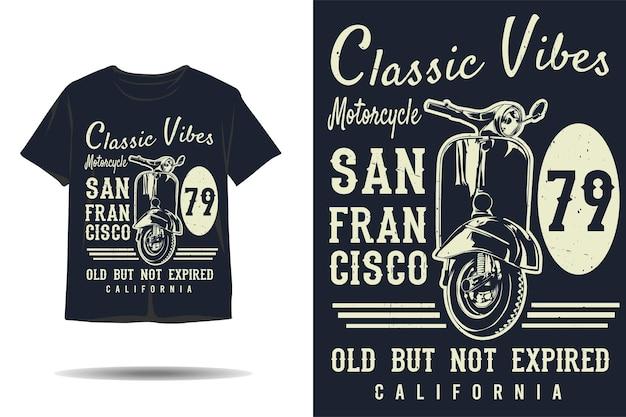 Klasyczne wibracje motocykla stary, ale nie wygasły projekt koszulki z sylwetką kalifornii