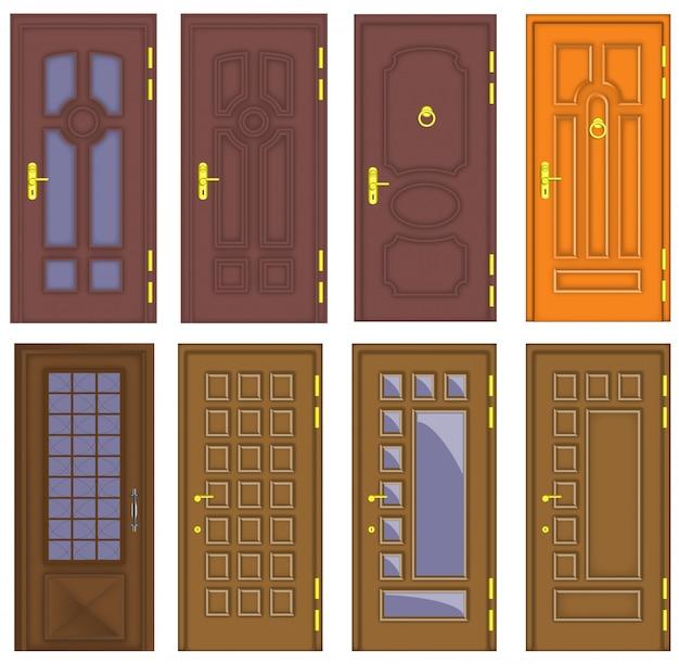 Klasyczne wnętrze i przednie drewniane drzwi - wektor