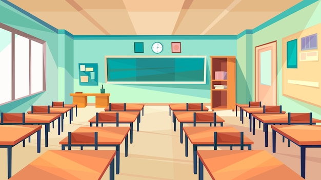 Klasyczne wnętrze szkoły. pusta sala szkolna.