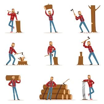 Klasyczny amerykański drwal w kraciastej koszuli. cięcie i rąbanie drewna tasakiem i piłą