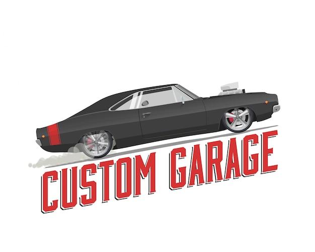 Klasyczny amerykański samochód mięśni na białym tle z niestandardowym podpisem garażu na białym tle