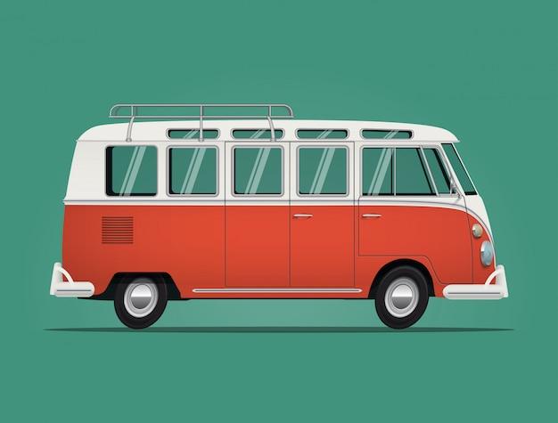 Klasyczny autobus z lat 60-tych czerwony hipis van na białym tle na zielonym tle