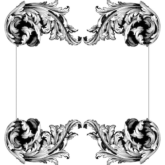 Klasyczny barokowy zestaw elementów vintage.