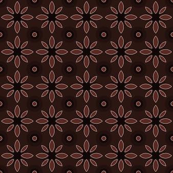 Klasyczny batik bezszwowe tło wzór. luksusowa tapeta geometryczna mandali. elegancki tradycyjny motyw kwiatowy w kolorze brązowym
