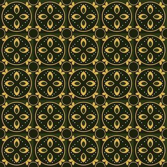 Klasyczny batik bezszwowe tło wzór. luksusowa tapeta geometryczna mandali. elegancki tradycyjny motyw kwiatowy w kolorze zielonym