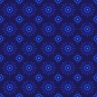 Klasyczny batik tło wzór. luksusowa tapeta geometryczna mandali. elegancki tradycyjny motyw kwiatowy w ciemnoniebieskim kolorze