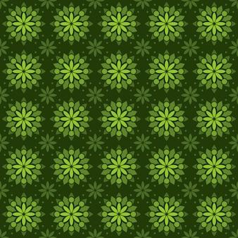 Klasyczny batik tło wzór. luksusowa tapeta geometryczna mandali. elegancki tradycyjny motyw kwiatowy w kolorze zielonym