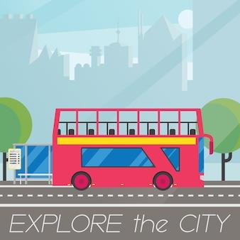 Klasyczny brytyjski piętrowy autobus w płaskiej kompozycji krajobrazu miasta