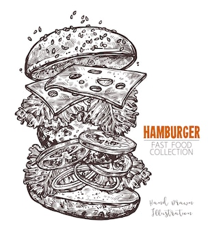 Klasyczny cheeseburger ręcznie rysowane grawerowanie szkicu.