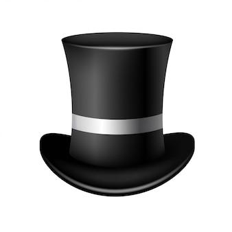 Klasyczny cylindryczny kapelusz na białym tle