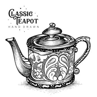 Klasyczny czajniczek w stylu carvingowym
