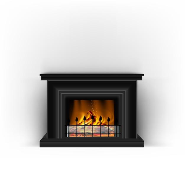 Klasyczny czarny kominek z płonącym ogniem do wystroju wnętrz w kolorze piaskowym