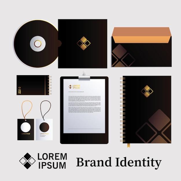 Klasyczny czarny projekt szablonu tożsamości korporacyjnej z rombem na białej ilustracji