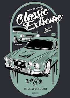 Klasyczny ekstremalny, ilustracja klasycznego samochodu wyścigowego