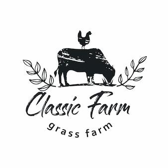 Klasyczny emblemat farmy rustykalnej